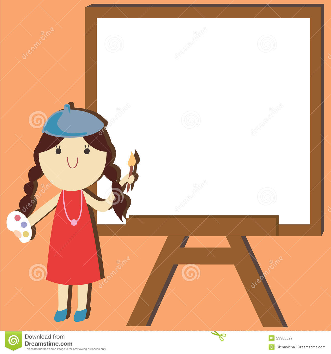 Artist Painter Cartoon With Empty Space Background Royalty Free.