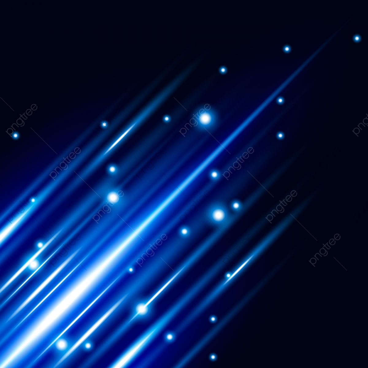 Abstract Blue Light Effect With Shine Bright Vector Background, Blue.