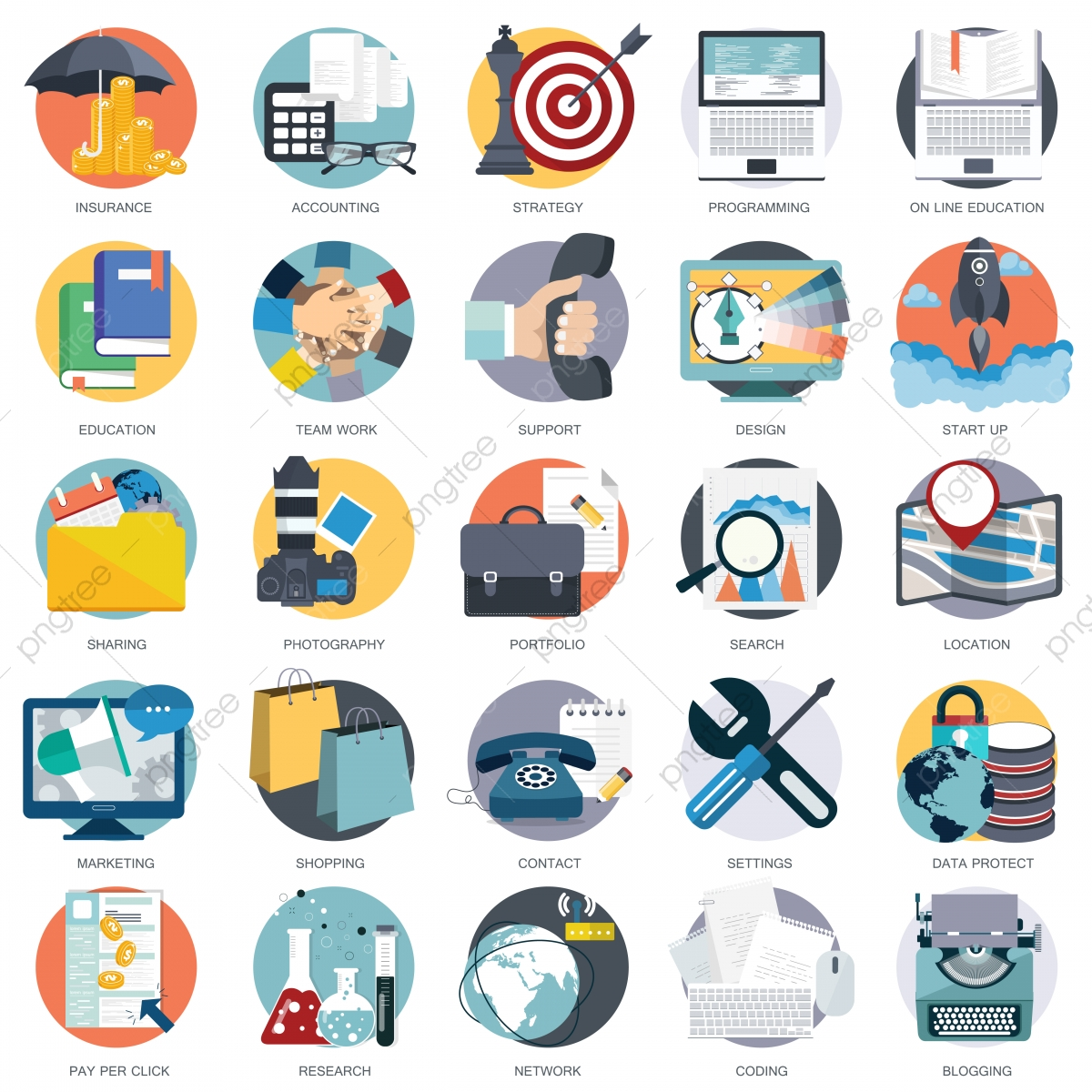 Business Technology And Finances Icon Set For Websites And Mobile.