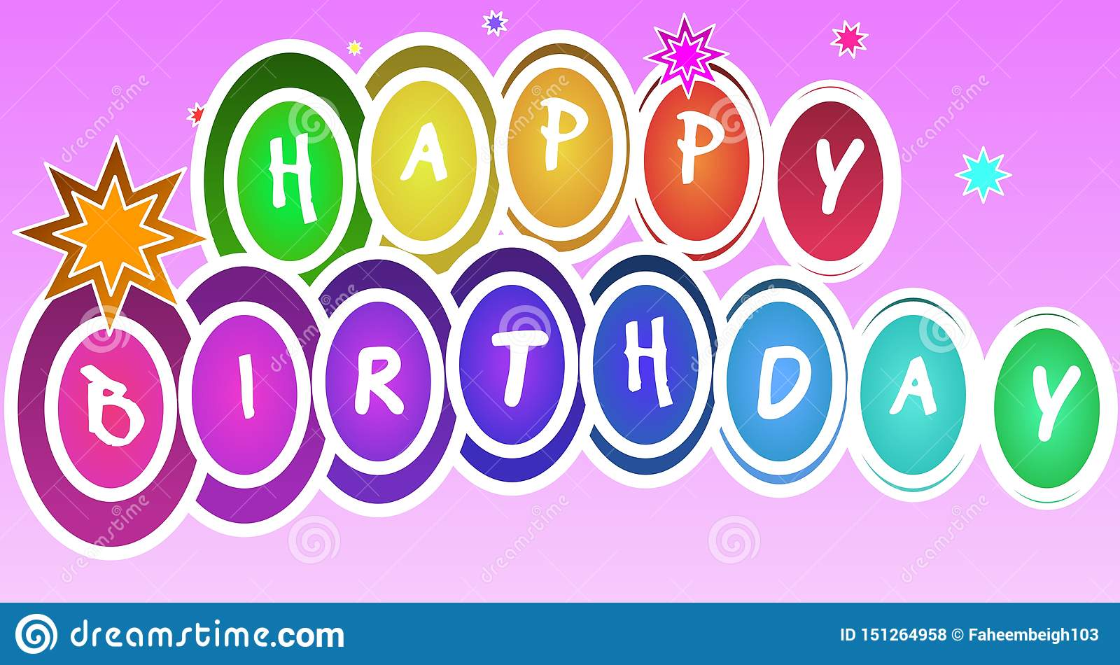 Colourful Decorative Happy Birthday Design On A Pink Gradient.