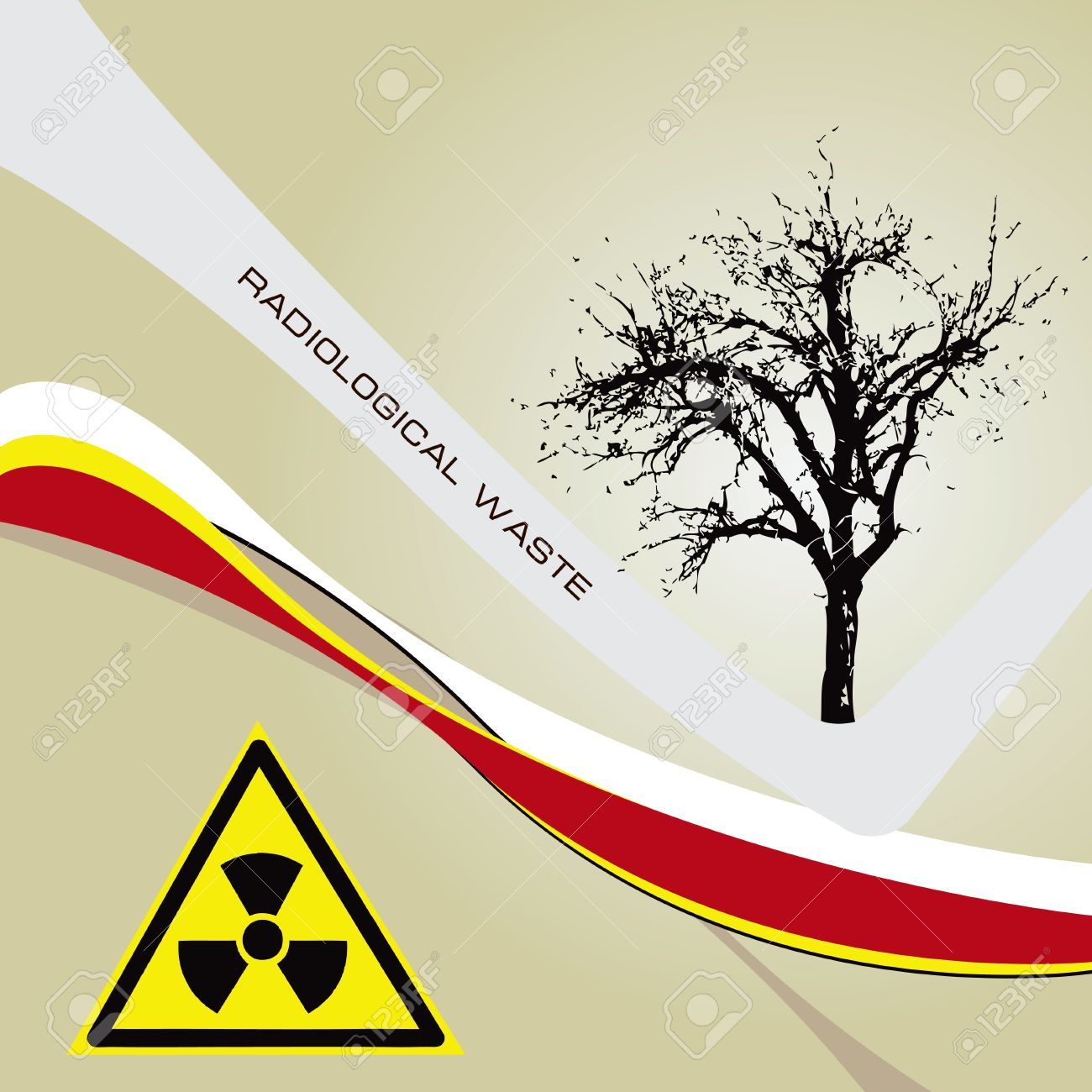 Background Radiation Waste With A Radioactive Symbol Of Danger.