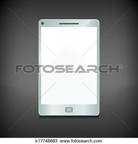 Clipart of Realistic smartphone with blank screen isolated on dark.