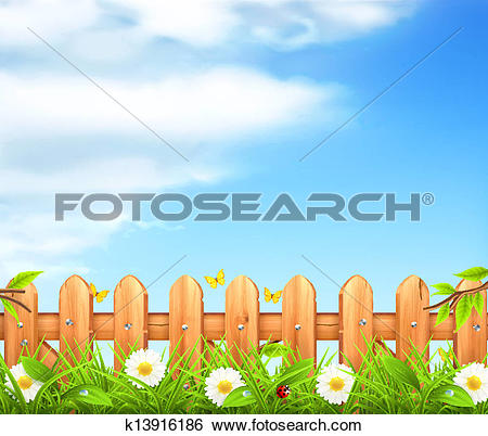 Clip Art of Spring background, grass and wooden fence vector.