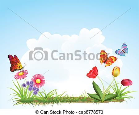 Vectors of spring flowers background csp8778573.