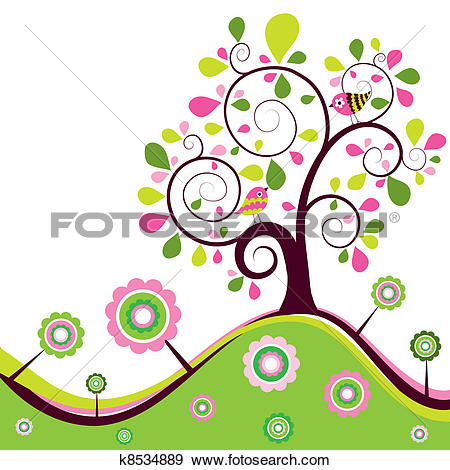 Clip Art of Blossoming tree and tulips, spring, frame k0197122.