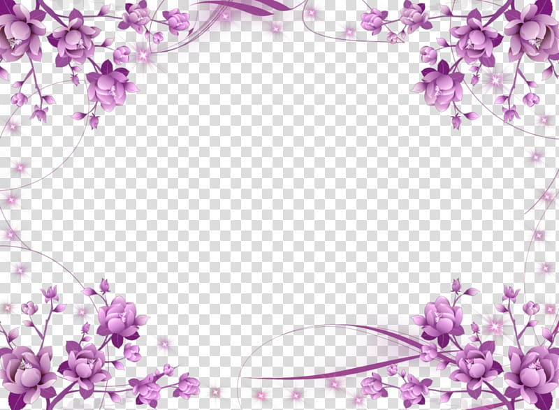 Wedding invitation frame Flower Purple , Purple Border Frame HD.