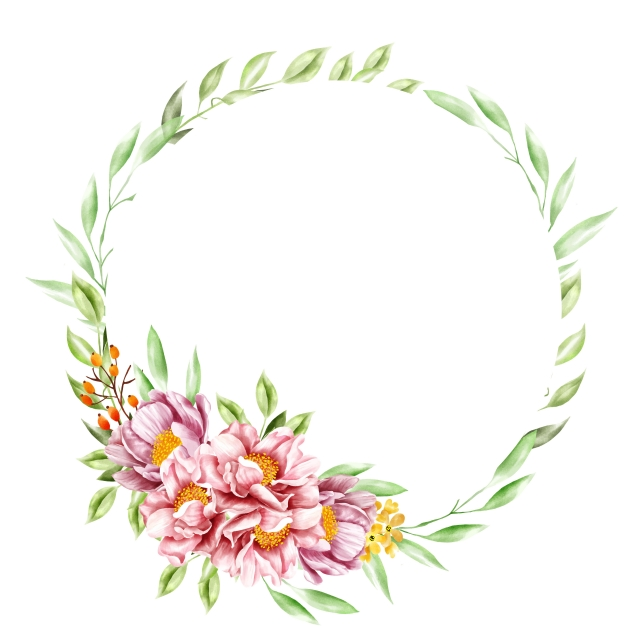 Watercolor Flower Wreath Background Wedding Invitation, Floral.