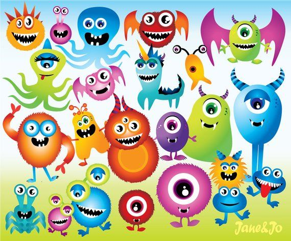 23 Monster Cliparts 15 Backgrounds,Monster clipart with.