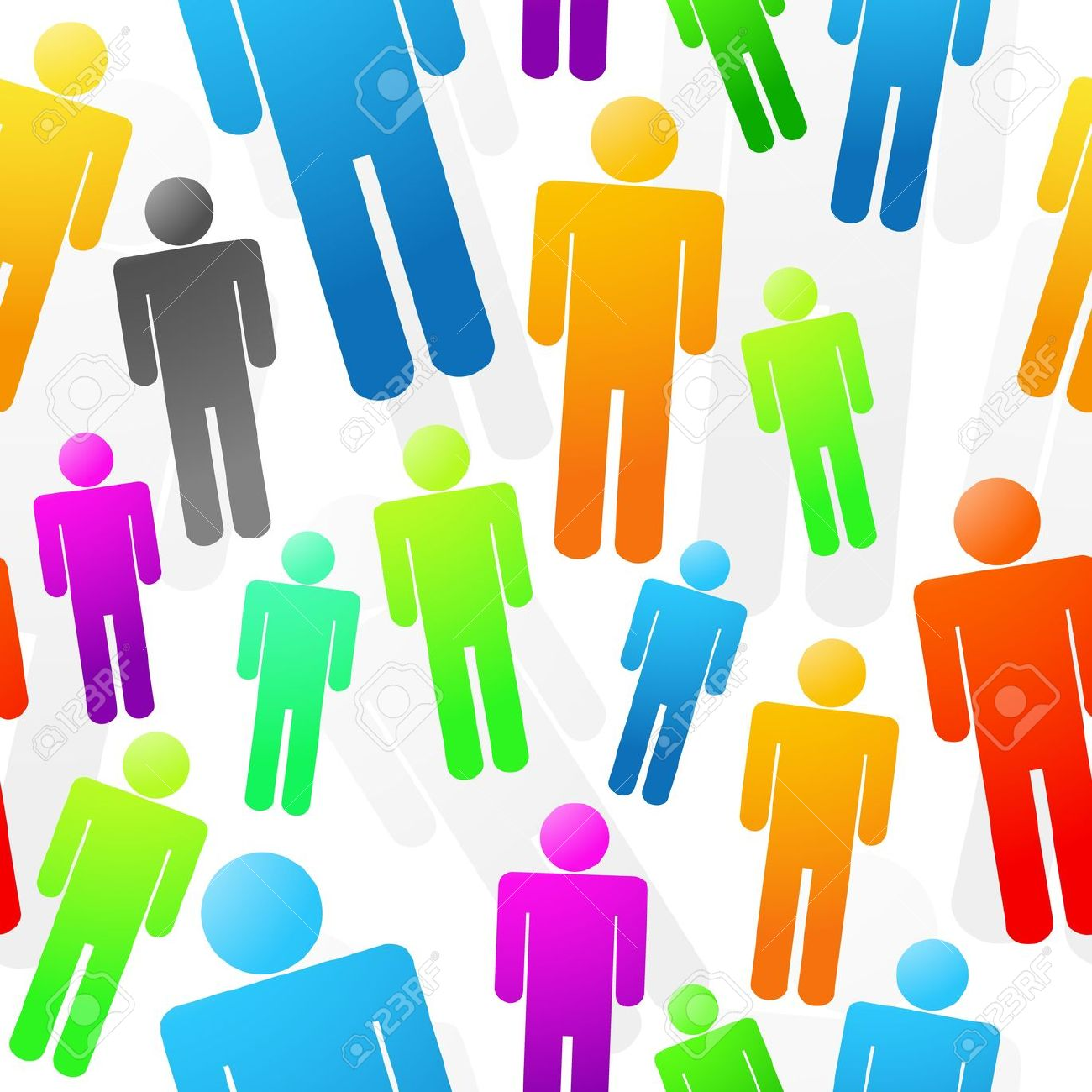 Colorful People Seamless Background Texture Royalty Free Cliparts.