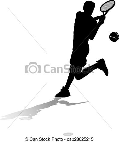 Vector Clip Art of Male Tennis Silhouette Backhand.