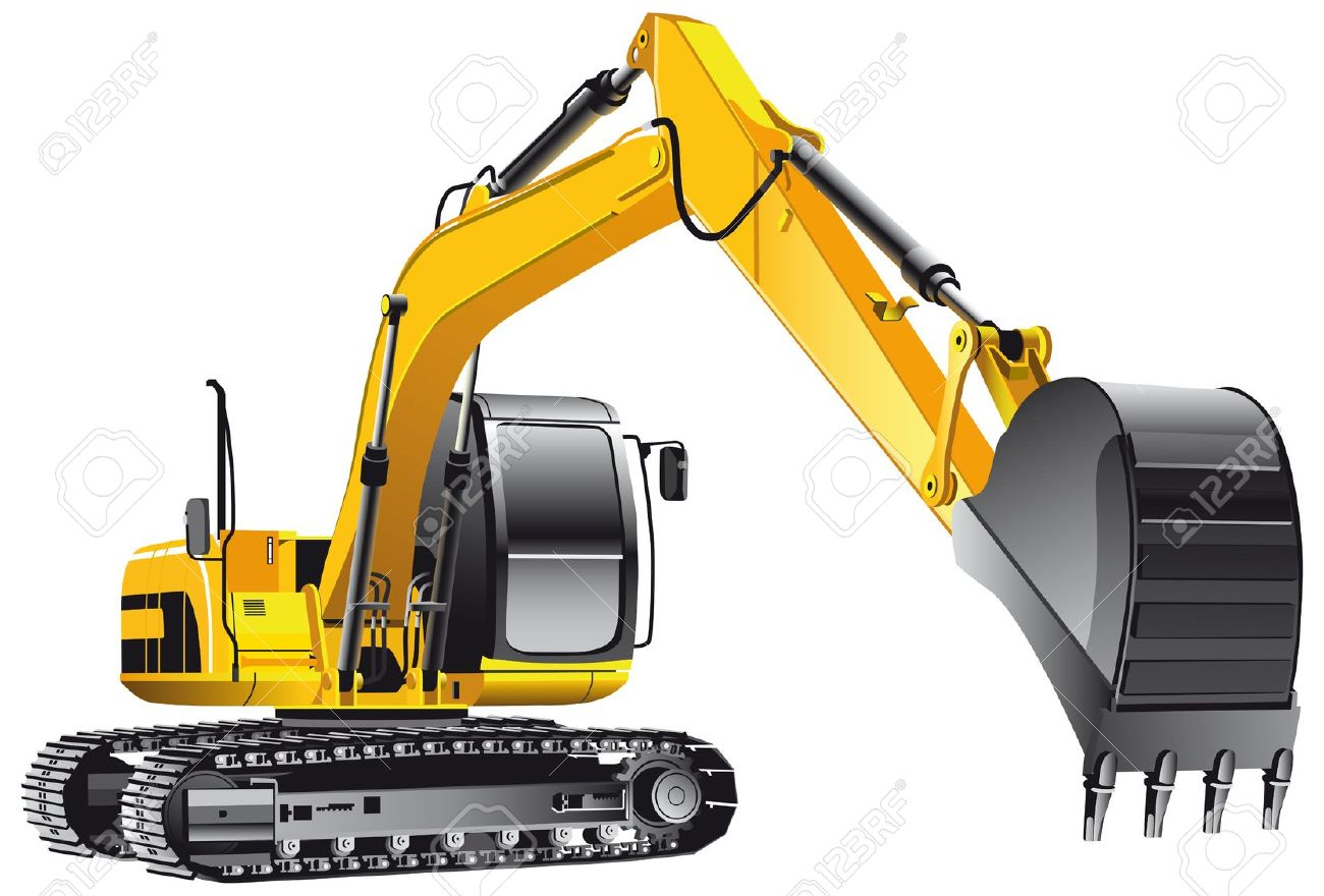 Detailed Vectorial Image Of Yellow Crawler Excavator, Isolated.