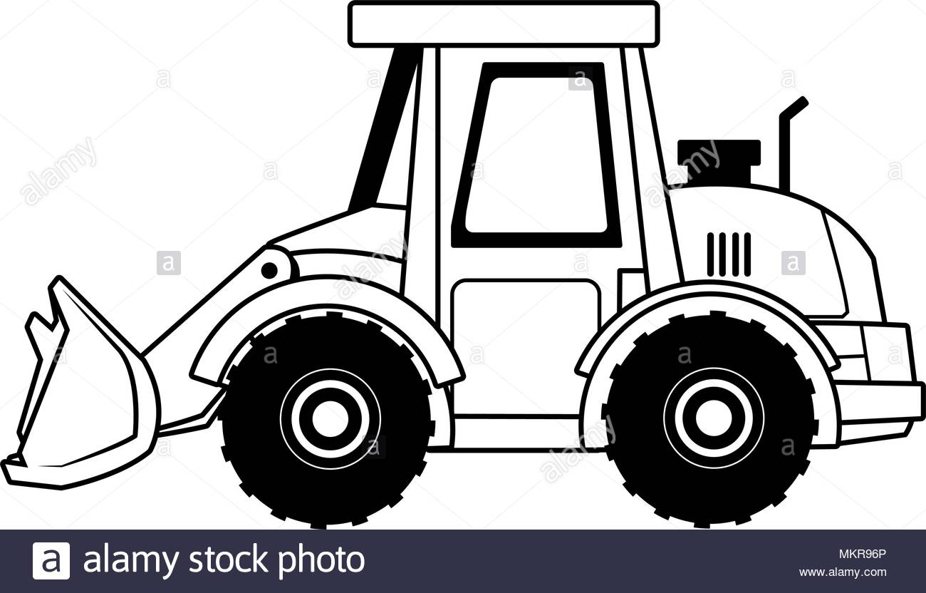 Construction backhoe vehicle on black and white Stock Vector Art.