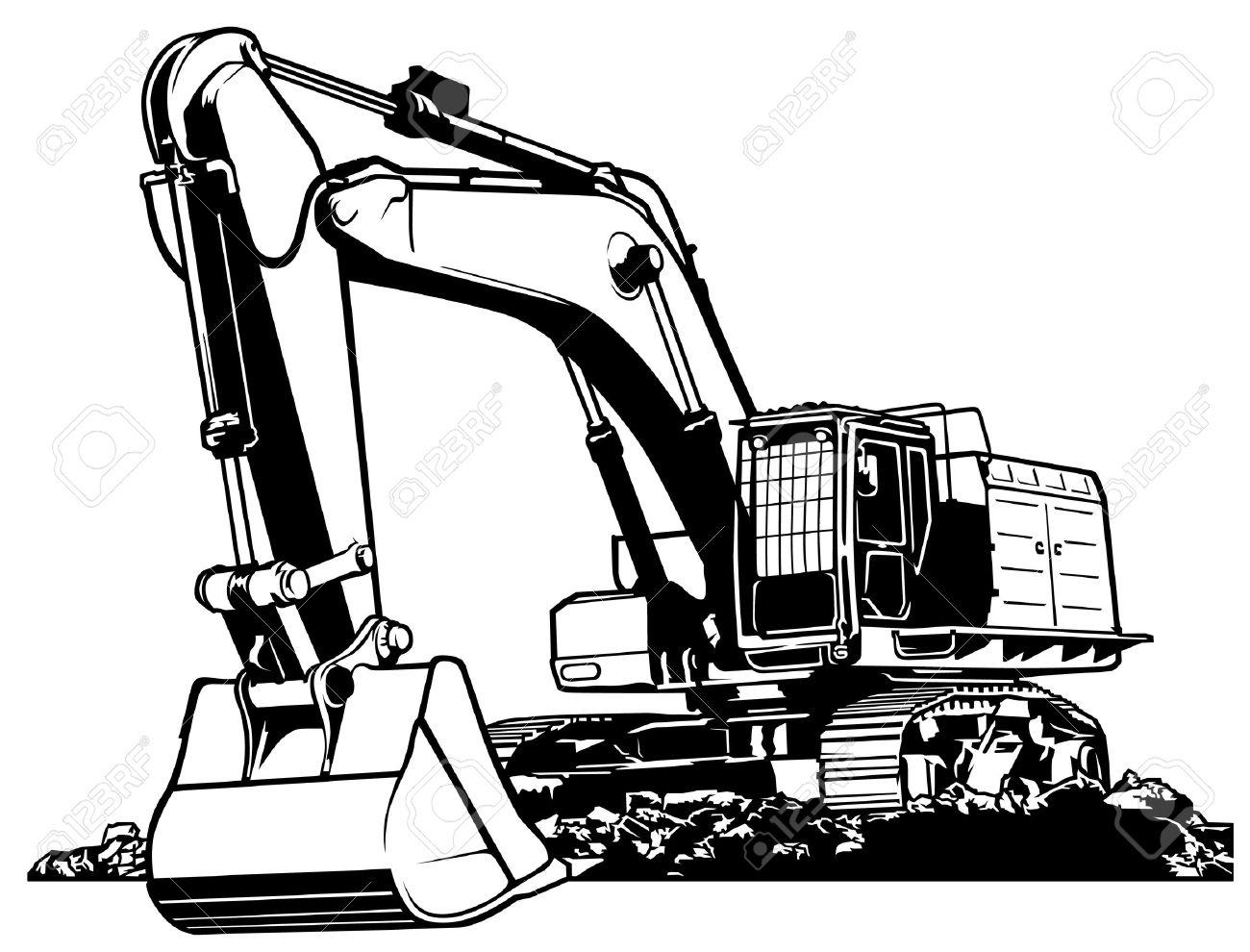Excavator Black and White Outlined Illustration.