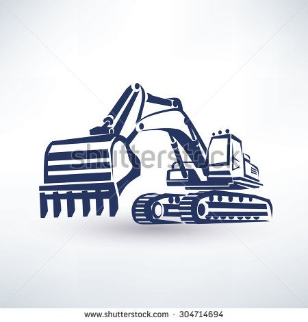 excavator free clipart black and white.