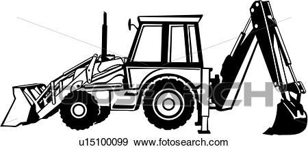 , backhoe, construction, heavy equipment, trade, Clip Art.
