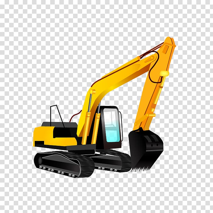 Yellow and black backhoe , Excavator Heavy equipment.