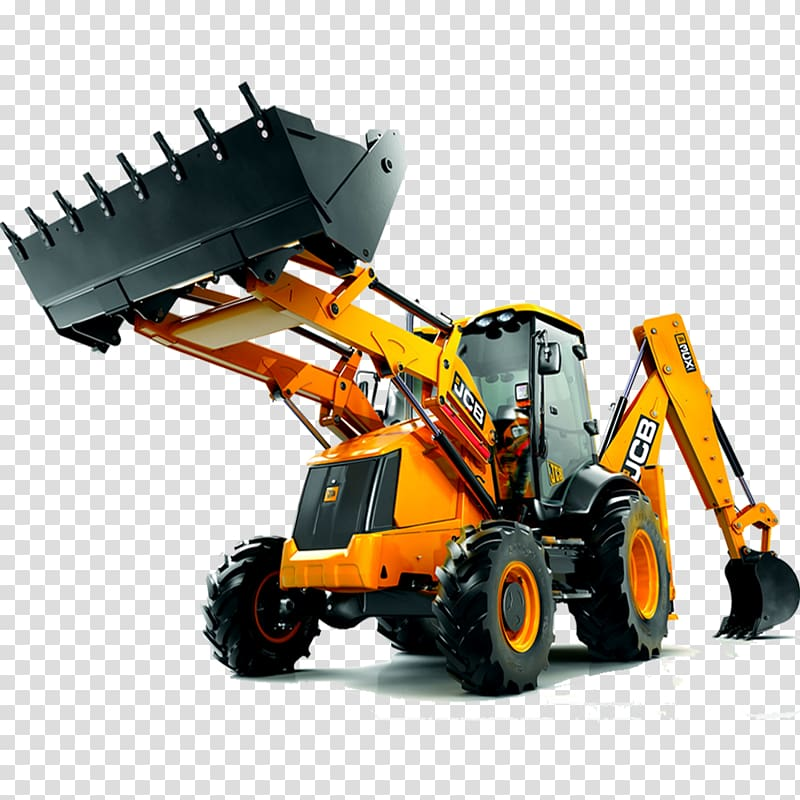 Yellow and black JCB heavy equipment, JCB Heavy Machinery Backhoe.