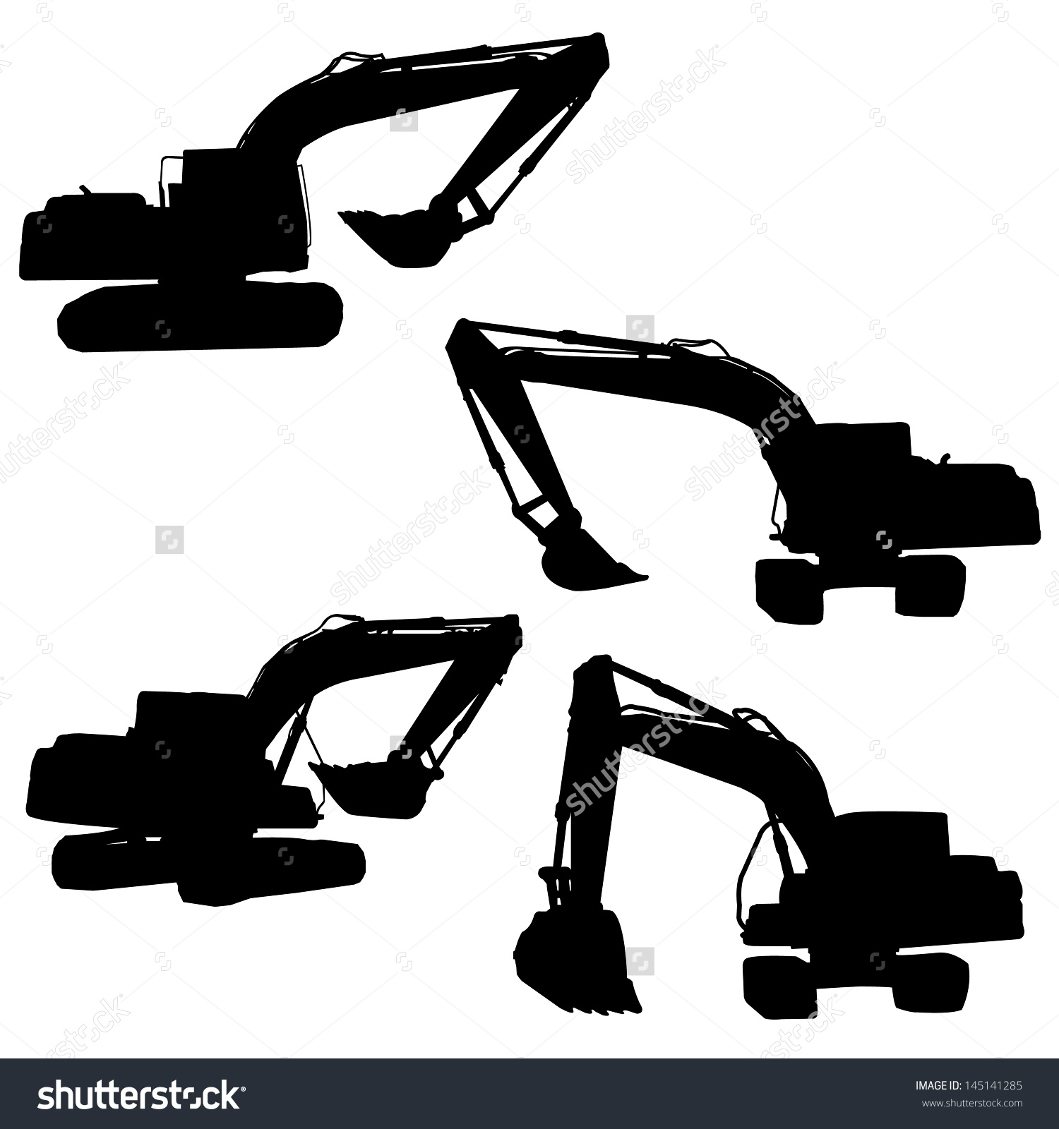 Backhoe Silhouette Vector Stock Vector 145141285.