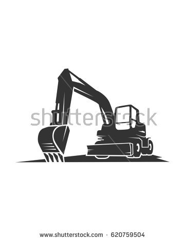 Backhoe Silhouette Vector Stock Vector 119817289.