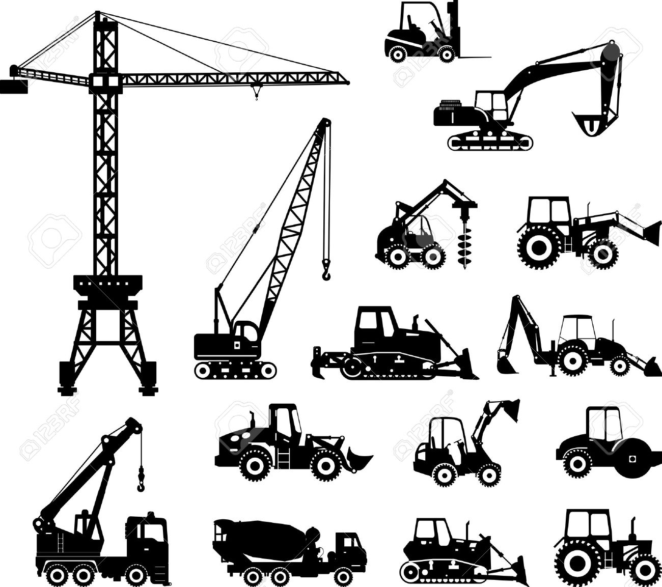 illustration of backhoe loaders heavy equipment and machinery clipart.