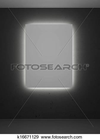Stock Illustration of room with backlight and frames k16671129.