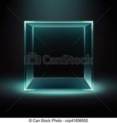 Clipart Vector of Glass Box on Dark Background with Blue Backlight.