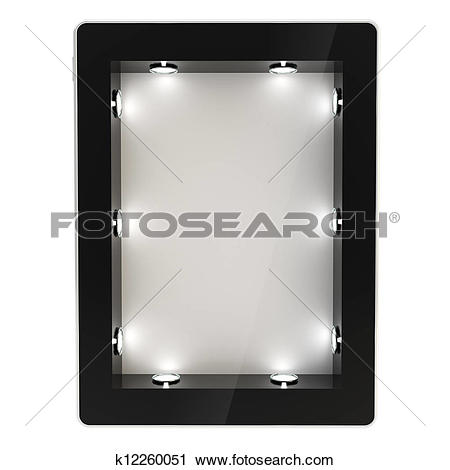 Clipart of Tablet pad electronic device with backlight screen.
