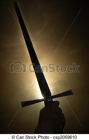 Stock Photography of Medieval spanish sword silhouette at.