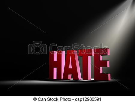 Stock Illustration of Shining a Light On Hate.