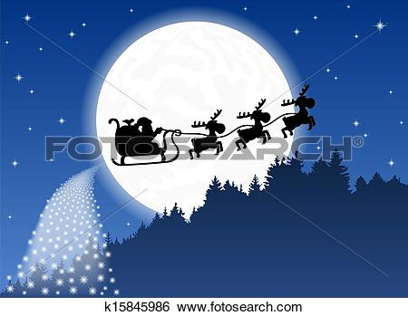 Clip Art of Santa Claus and his reindeer sleigh backlit by the.