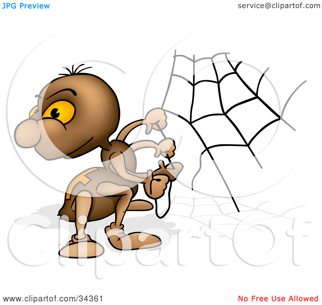 Clipart Illustration of a Cute Brown Spider Looking Back Over His.