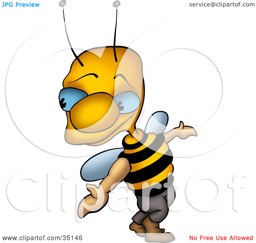 Clipart Illustration of a Sneaky Blue Eyed Wasp Looking Back Over.