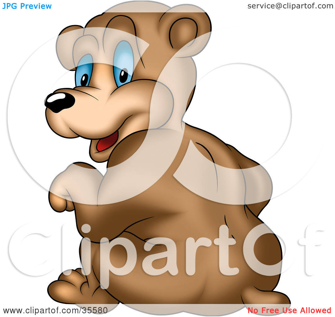 Clipart Illustration of a Cute Bear With Big Blue Eyes, Smiling.