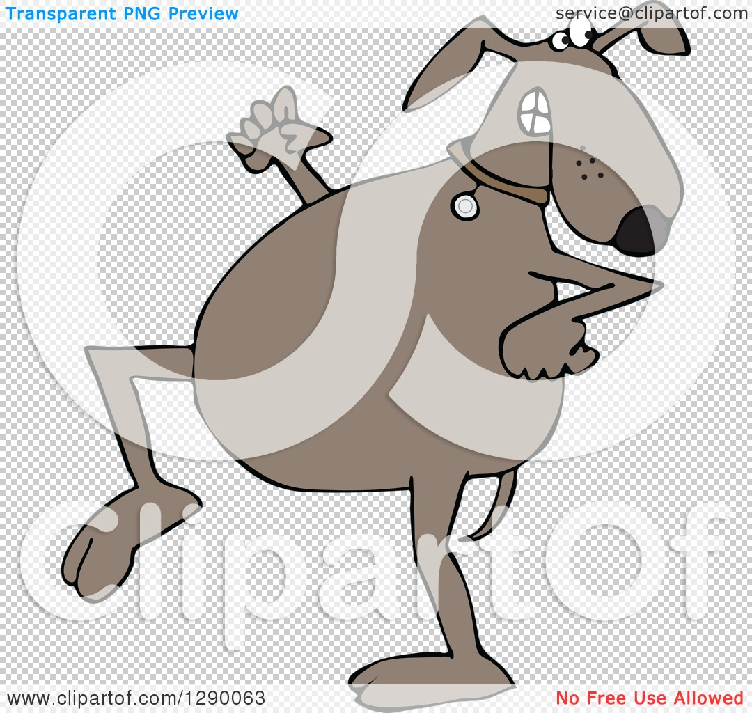 Clipart of a Sneaky Brown Dog Looking Back over His Shoulder.