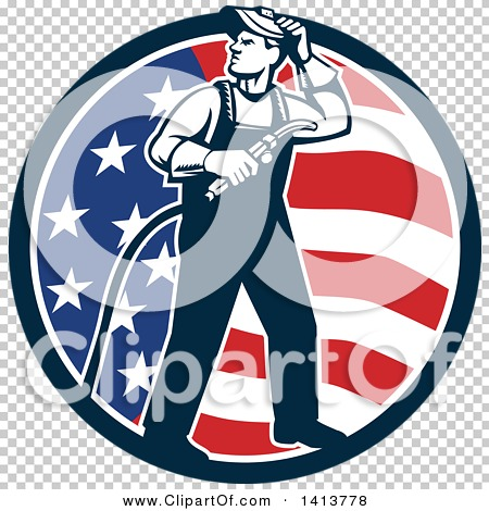 Clipart of a Retro Full Length Male Welder Looking Back over His.
