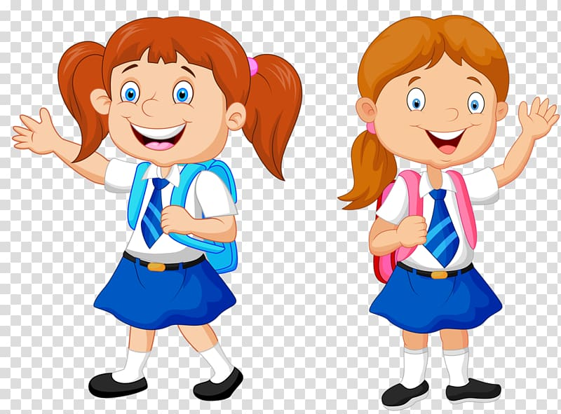 Smiling girl with backpack illustration, Cartoon School.