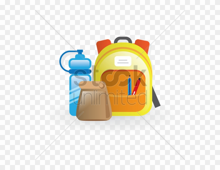 School Backpack, Lunch Bag And Water Bottle Vector Clipart.