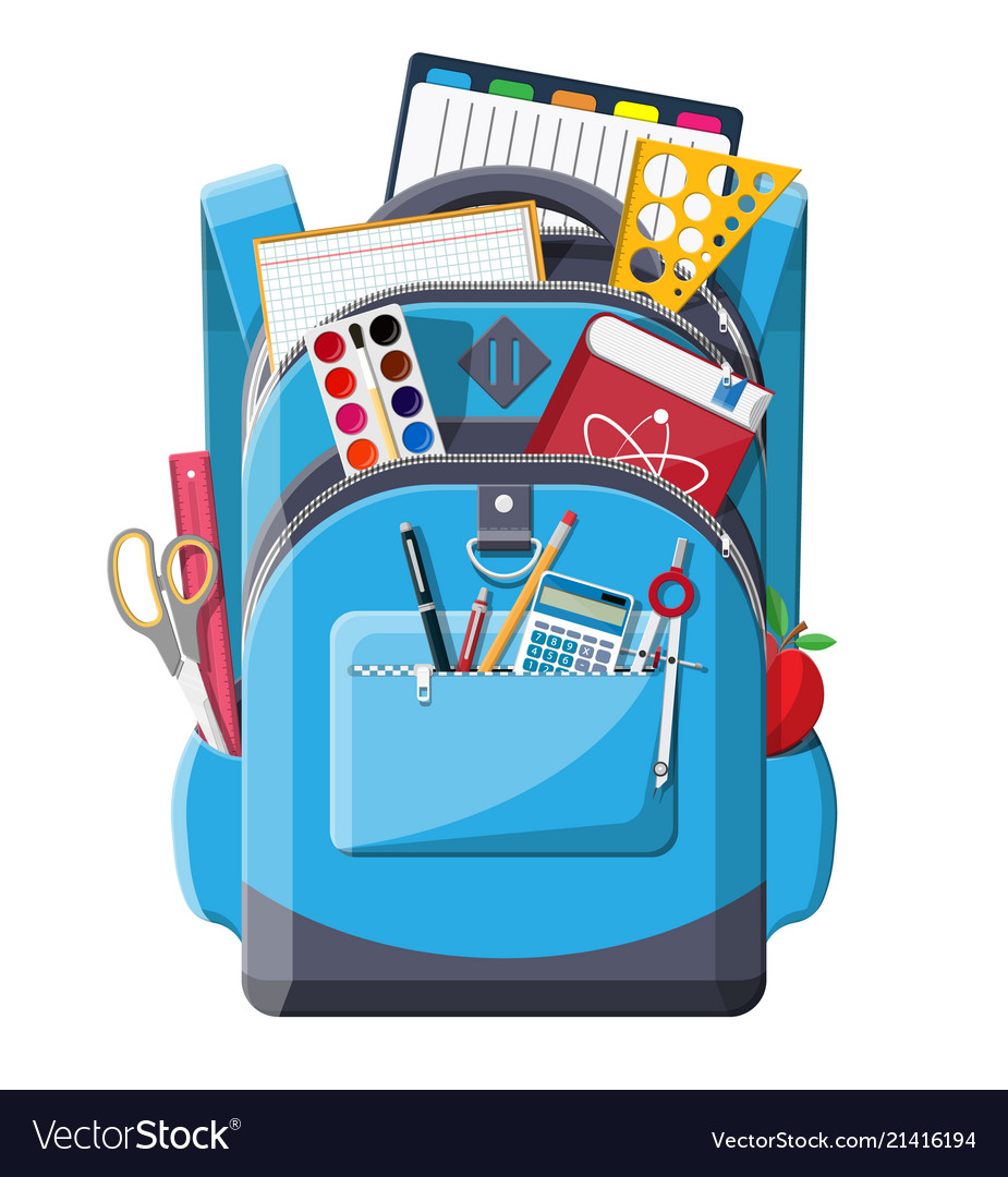 Back to school school supplies in backpack.