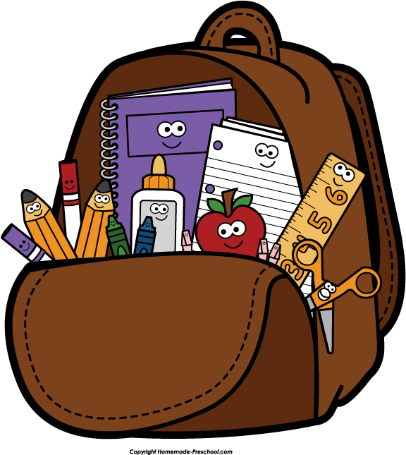 Book Bag Black And White Clip Art.