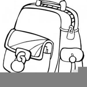 Black And White Backpack Clipart.