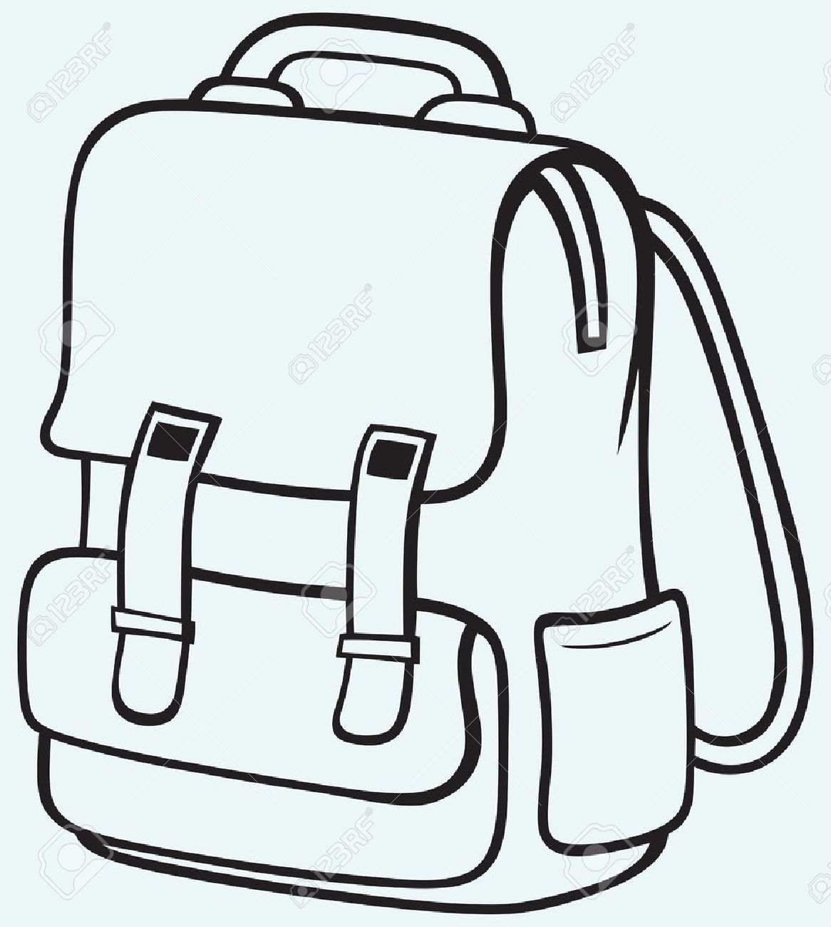 School Bag Cartoon Black And White.