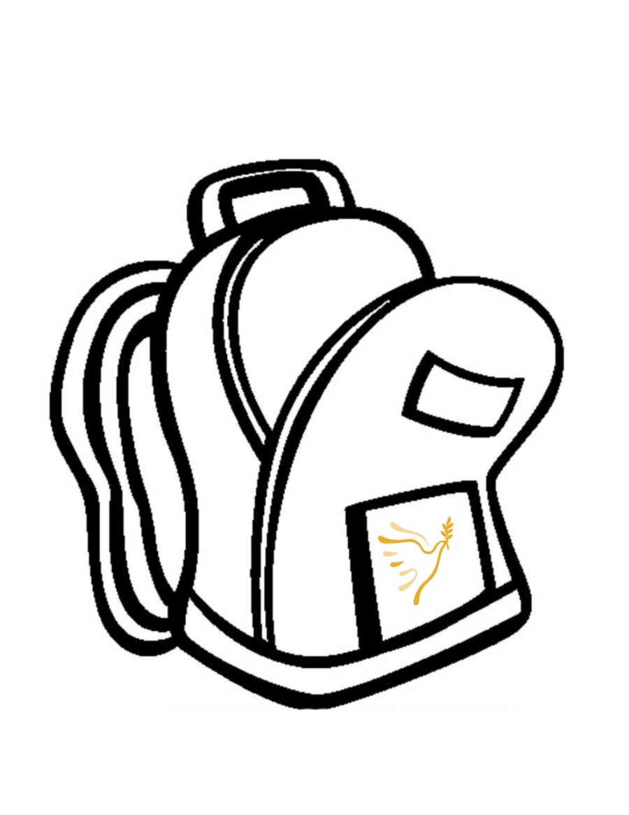 Backpack clipart line drawing, Backpack line drawing.