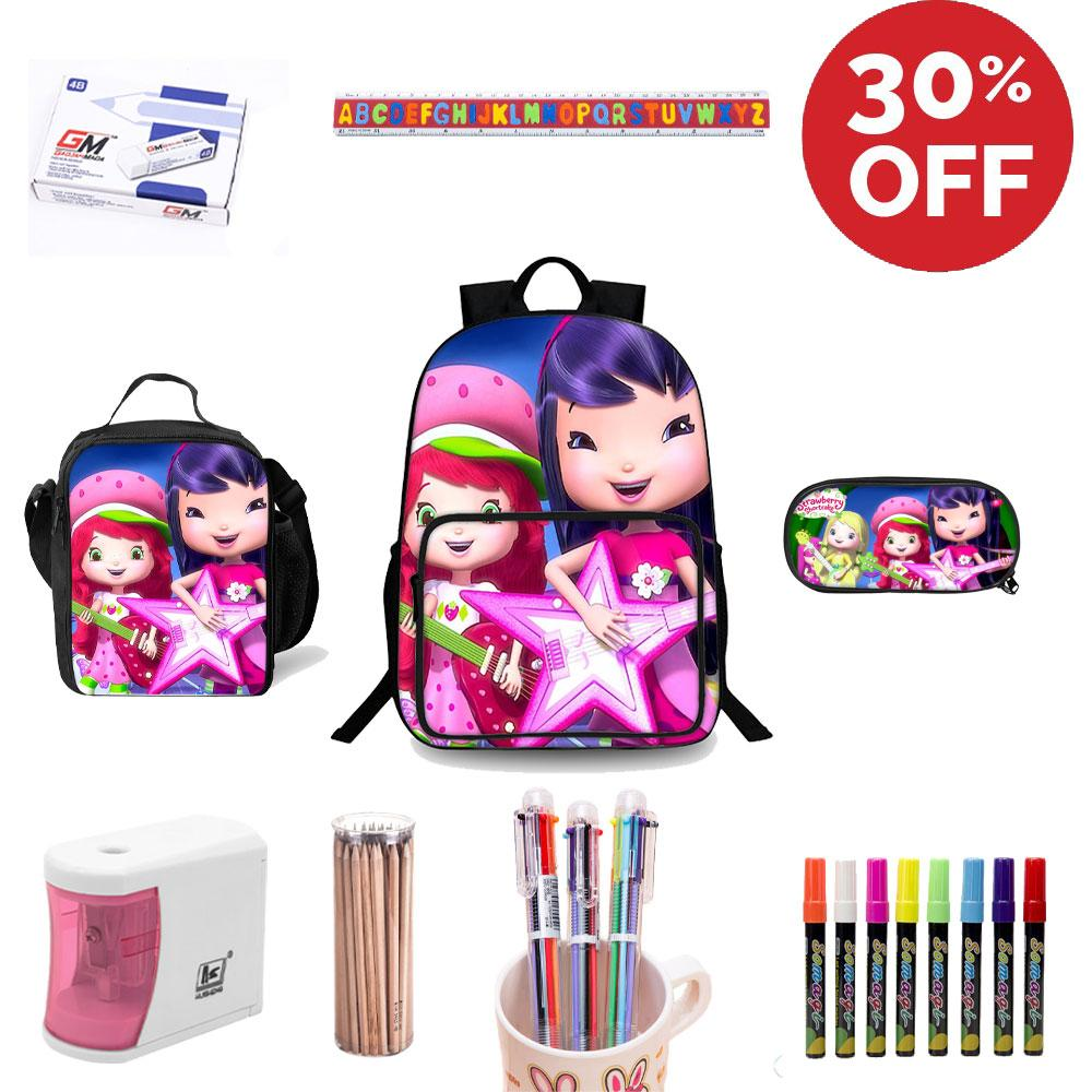 2019 Backtoschool Strawberry Shortcake Berry Bitty Adventures Backpack  Lunch Bag Pencil Case Stationery Set for School Auto.