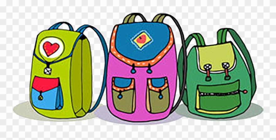Three Vector Colorful Children Backpacks Isolated On.