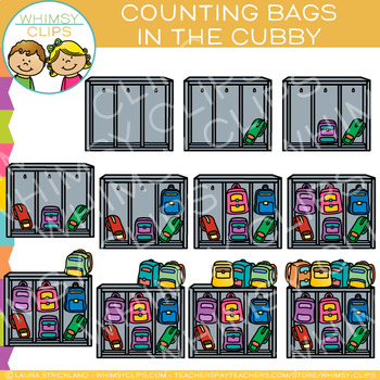 Backpacks in a Cubby Counting Clip Art.