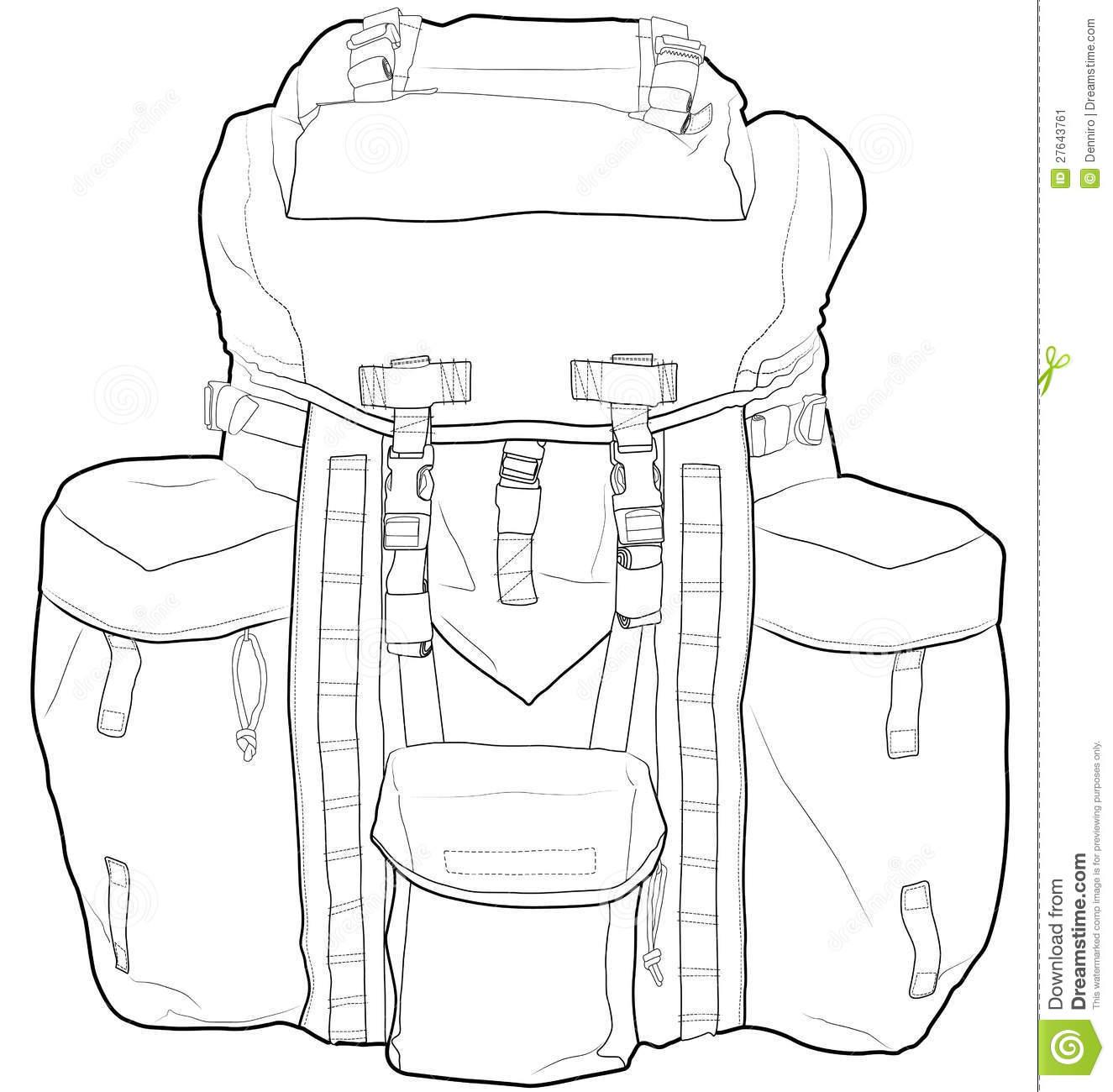 Military Or Hiking Backpack Outline Vector Illustr Stock Image.