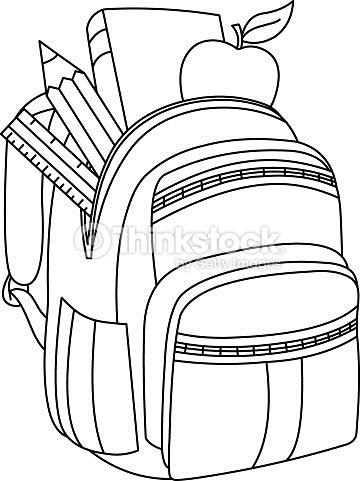 Outlined School Backpack Vector Art.