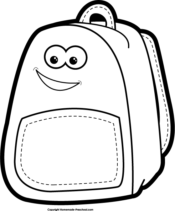 Kid With Backpack Clipart Black And White.