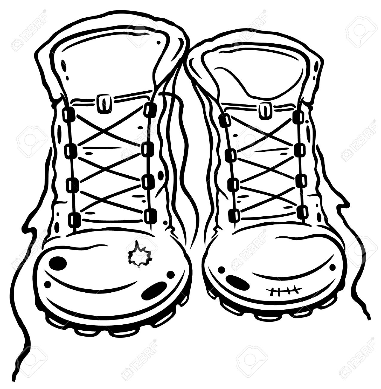 Hiking Boots Clipart Black And White.