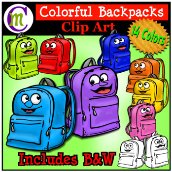 School Supplies Clip Art Backpacks CM.